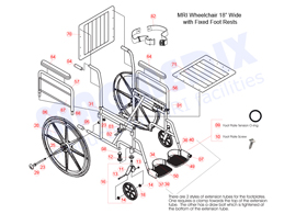 "18"" MRI Wheelchair with Fixed Footrest Parts Diagram"