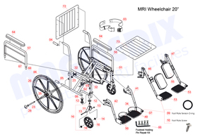 "20"" MRI Wheelchair with detachable footrests parts drawing"