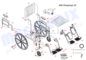 "22"" MRI Wheelchair with detachable footrests parts drawing"