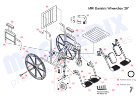 "26"" Bariatric MRI Wheelchair Parts Drawing"